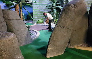 Richard on the Temple Ruins course at Paradise Island Adventure Golf in Manchester