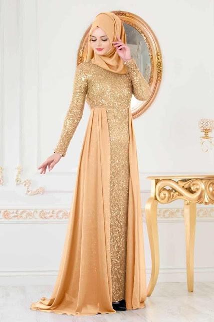 فستان سهرة وسواريه للمحجبات باللون العسلي موديل 2020