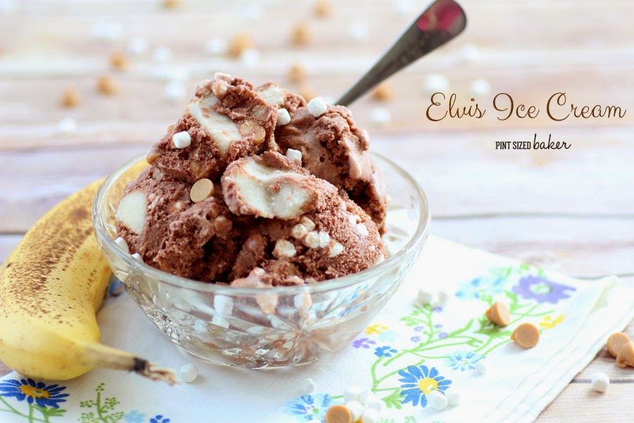 Elvis Ice Cream - Chocolate Ice Cream loaded with frozen Bananas, peanut butter chips, and mini marshmallows.