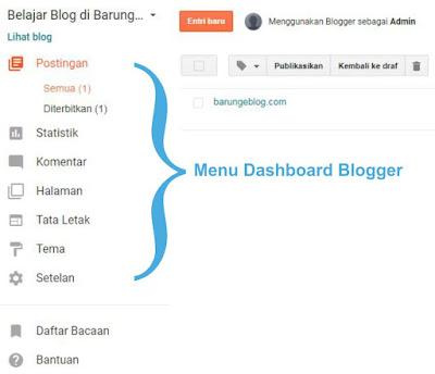Menu di Dashboard Blogger