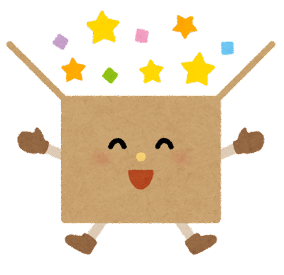 ふたが開いたダンボール箱のキャラクター