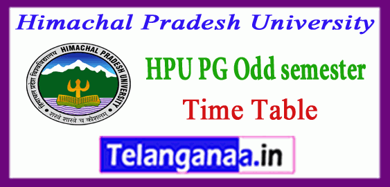 HPU Himachal Pradesh University MA M.Sc M.Com MBA MCA 1st 3rd semester Time Table
