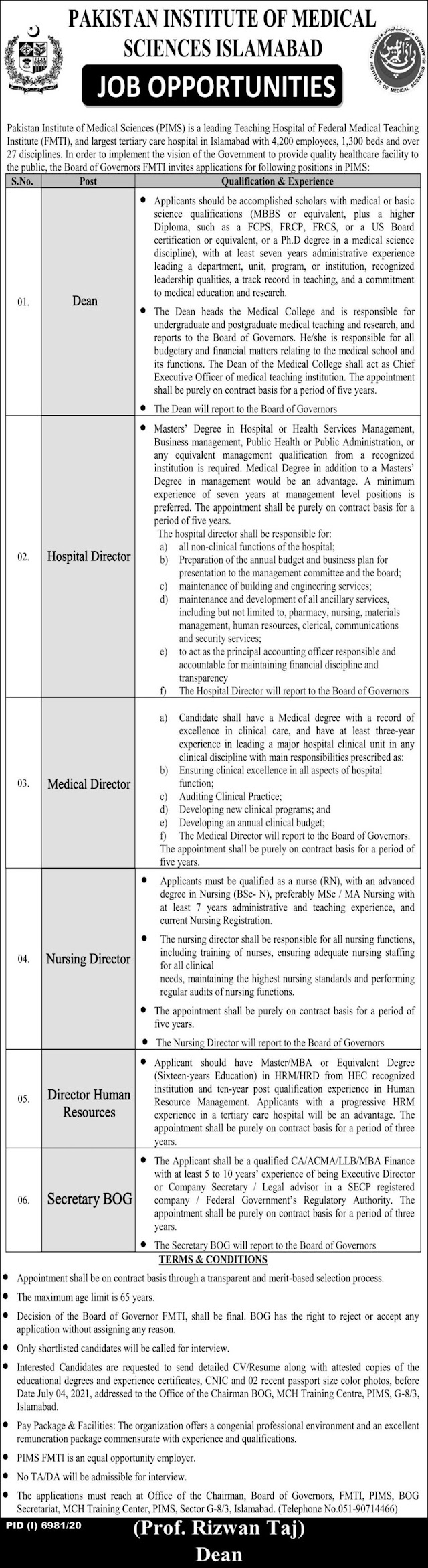 Pakistan Institute Of Medical Science PIMS Jobs 2021