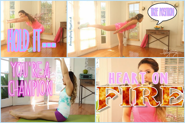 Cassey Ho Blogilates screenshots from Katy Perry Roar ab workout challenge and heart on fire cardio work out. At home fitness and aerobic work outs from YouTube.