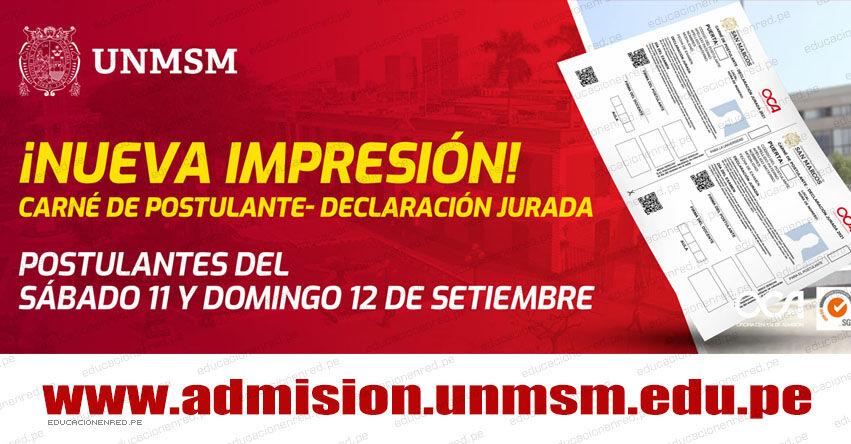 UNMSM: Imprime el Carné de Postulante para el Examen de Admisión a San Marcos - Puerta Ingreso - Sábado 11 - Domingo 12 Setiembre [RESULTADOS] www.unmsm.edu.pe