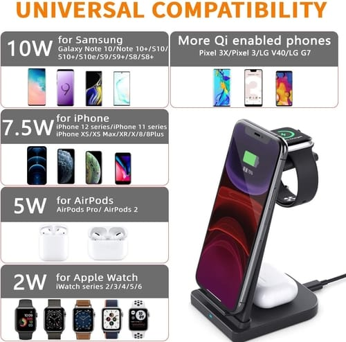 Dibree 3 in 1 Wireless 15W Fast Charger Stand