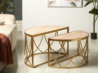 mesas de centro 2 cuerpos doradas