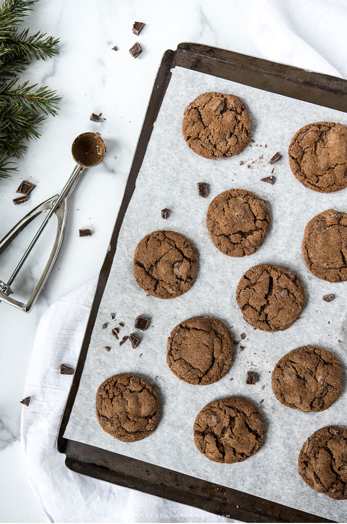 Baking sheet of chocolate gingerbread cookies