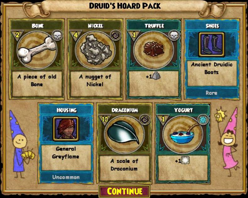 Wizard101 Druid's Hoard Pack