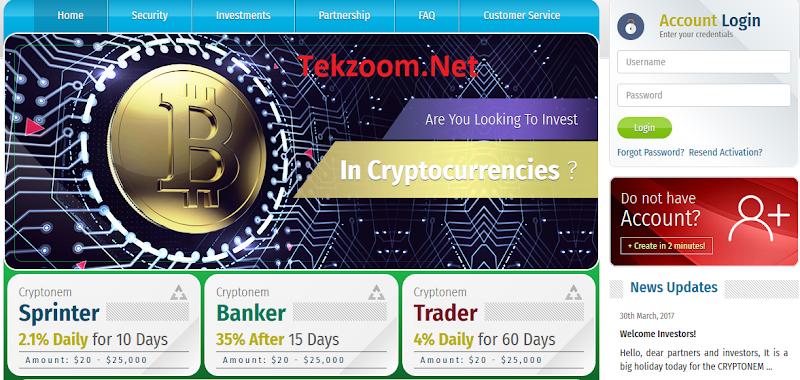 [SCAM] Review Cryptonem : Lãi 2.1% - 4% hằng ngày - Đầu tư tối thiểu 20$ - Thanh toán tức thì