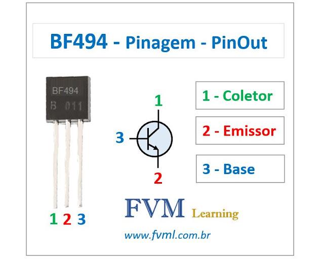Pinagem - Pinout - Transistor - NPN - BF494 - Características