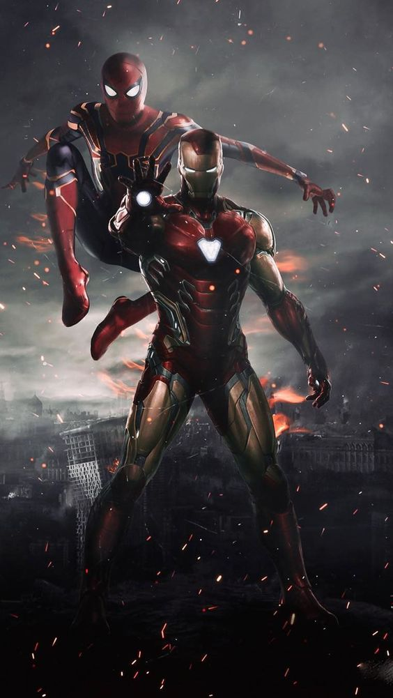 Gambar spiderman dan ironman