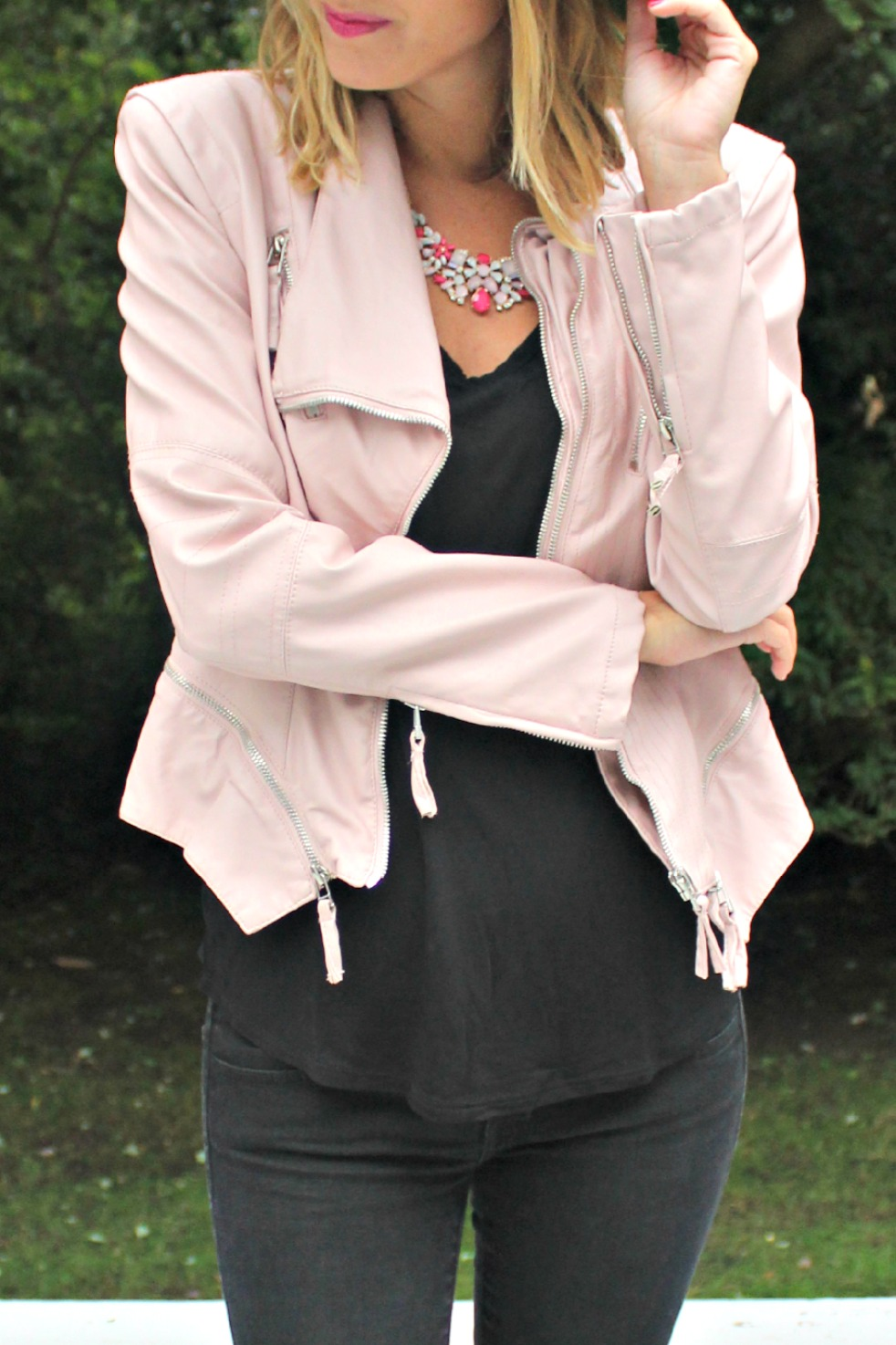 blanknyc pink leather jacket