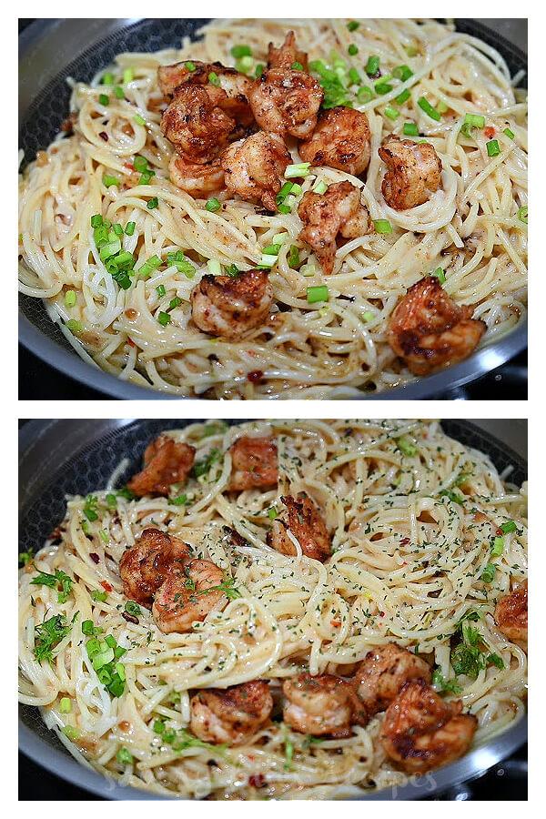 steps to make bang bang shrimp pasta