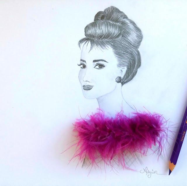 www.nilgunozenaydin.com-karakalem çizimleri- karakalem portre-drawing-Audrey Hepburn