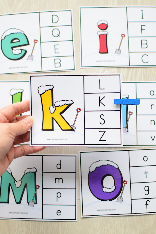 Winter Theme Learning Pack: Uppercase and Lowercase Letter Clipcards