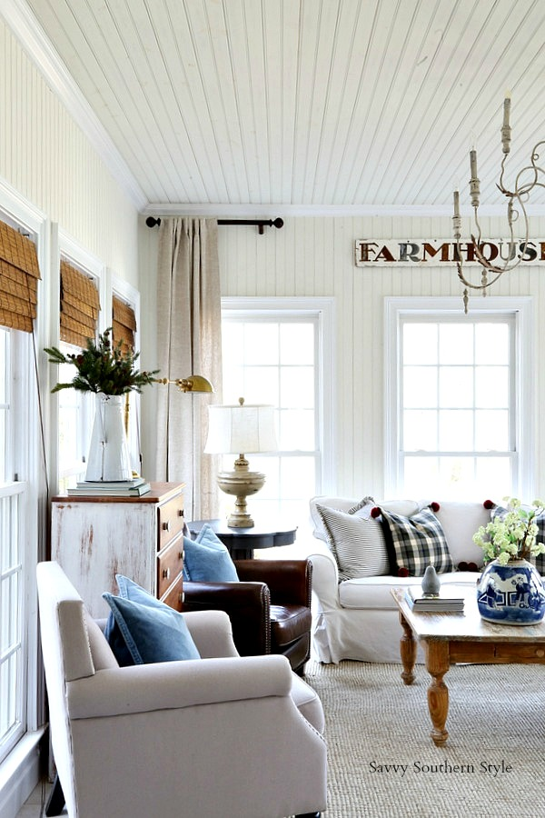 French Farmhouse Winter Sunroom This Is The Chandelier That Was In Dining Room I Shared New Post