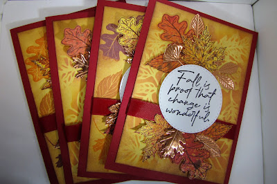 CraftyColonel Donna Nuce Club Scrap Falling Leaves Card Kit, Rinea Glossy- Copper/Gold Foil Paper.
