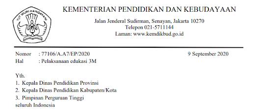 Surat Edaran Sesjen Kemendikbud tentang Pelaksanaan Edukasi 3M