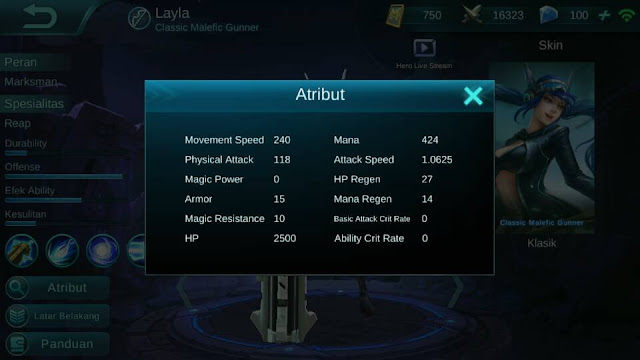 Layla, Jenis Hero Dalam Game Mobile Legend