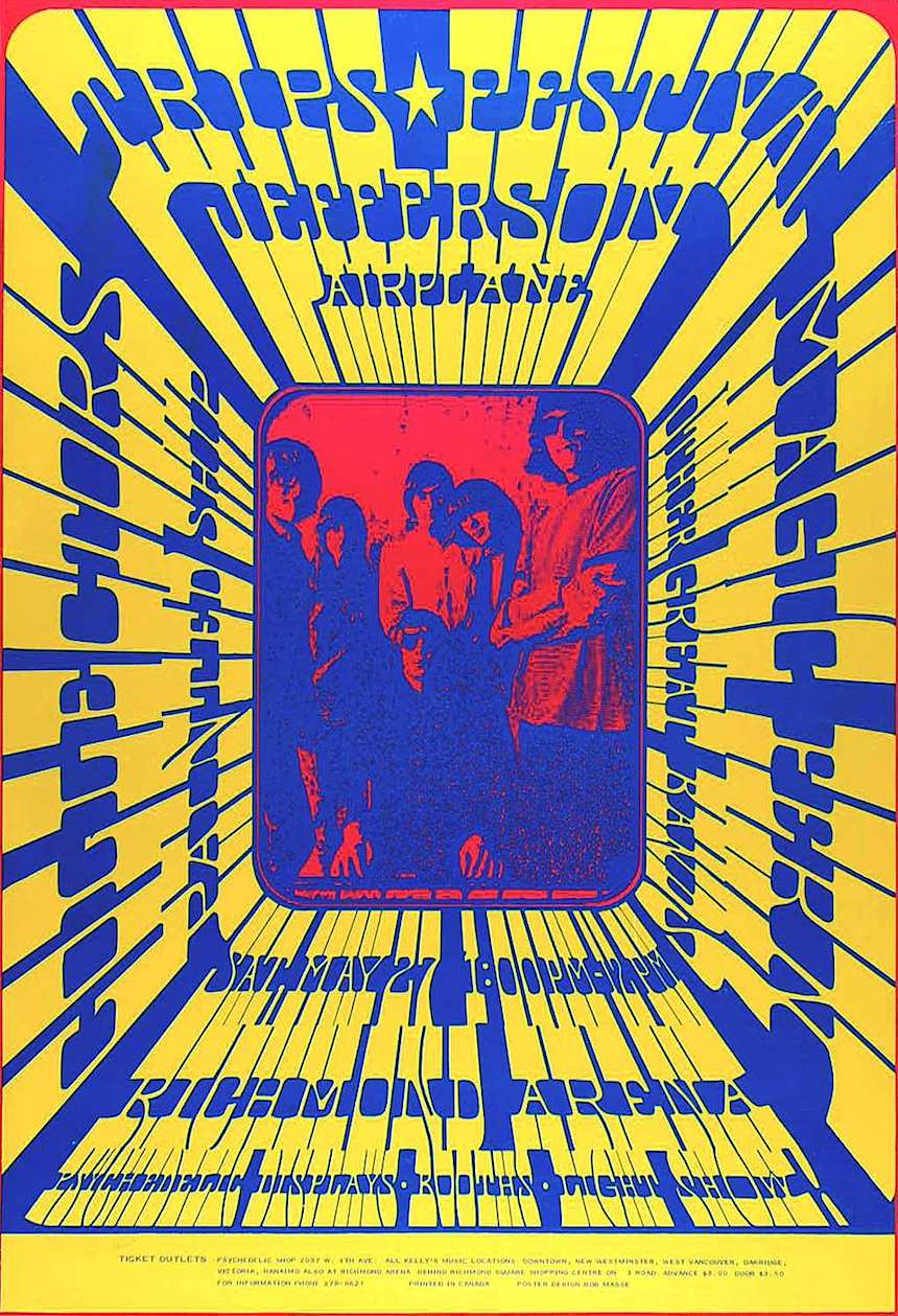 1967 poster, Jefferson Airplane, primary colors, red yellow blue