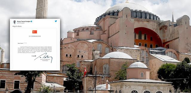 Αγία Σοφία: Υπέγραψε το διάταγμα ο Ερντογάν