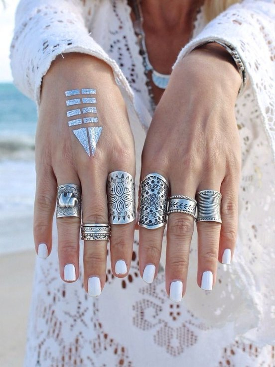 Silver Tibetan Rings with Metallic Flash Tattoo for Boho Beach Look 2016