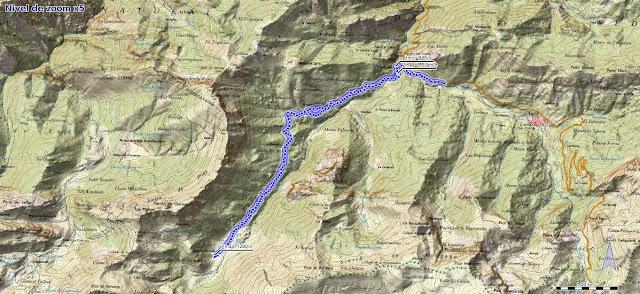 Mapa de la ruta a la Vega del Pociellu y Bosque de Fabucao
