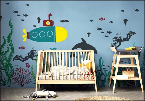 Under the Sea Nursery Wall Decal Sticker for Kids, scuba diver, Animals Whale Jelly Fish, Submarine, Octopus, Nautical Nursery  under the sea baby bedroom decorating ideas