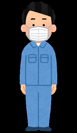 マスクを付けた作業員のイラスト(男性)
