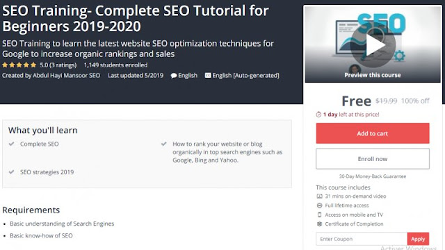 [100% Off] SEO Training- Complete SEO Tutorial for Beginners 2019-2020| Worth 19,99$
