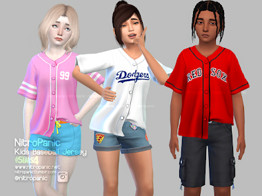 Kids Baseball Jersey for The Sims 4