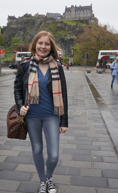 leather jacket, wrap top, burberry scarf, grey skinny jeans, converse. Edinburgh castle shopping outfit | awayfromblue