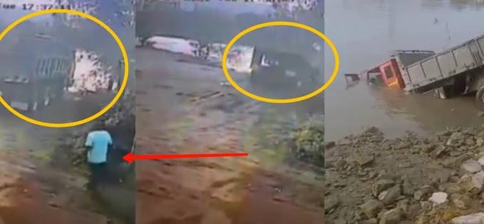 (Video) - Seorang lelaki hilang, dikhuatiri lemas selepas lorinya terjunam ke dalam sungai