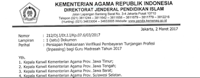 SURAT EDARAN VERIFIKASI PEMBAYARAN INPASSING TAHUN 2017 TERBARU