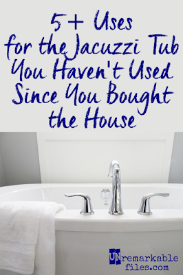 I was naive to buy a house with a built-in whirpool tub in the master bath. As if I'd use it for anything other than hanging sweaty running clothes.  {posted @ Unremarkable Files}