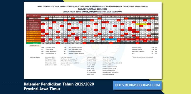 Kalender Pendidikan Tahun 2019-2020 Provinsi Jawa Timur