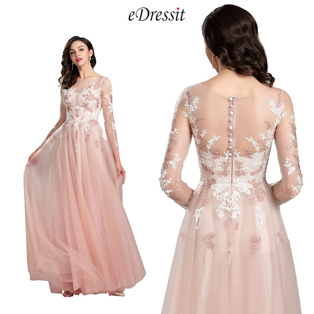 Pink Long Sleeve Lace Evening Prom Dress