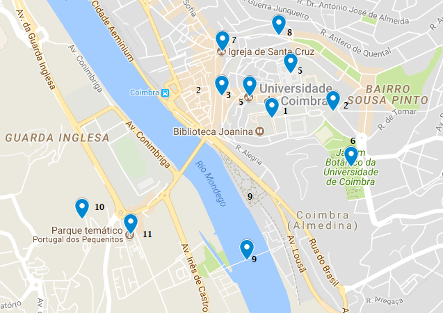 mapa turismo coimbra