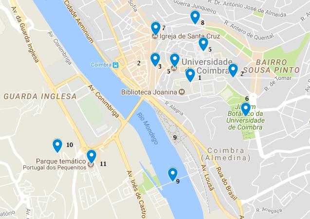 mapa turismo que ver en Coimbra Portugal