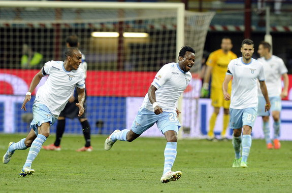 Lazio player Ogenyi Onazi celebrates after scoring his team's third goal against Inter Milan