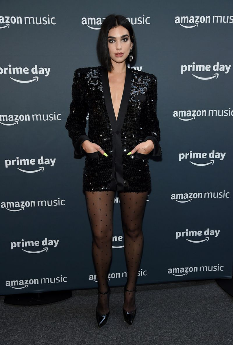 Dua Lipa dons black-sequin blazer at Amazon Prime Day Concert