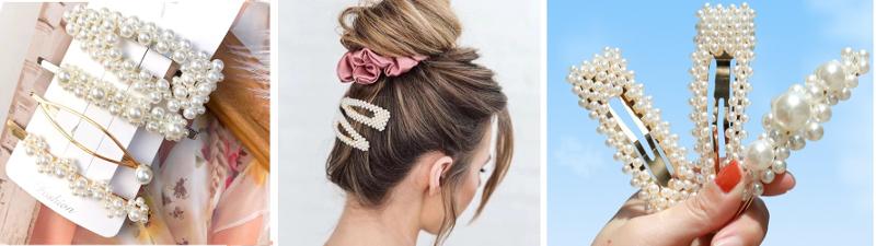 spinki do włosów z perełkami