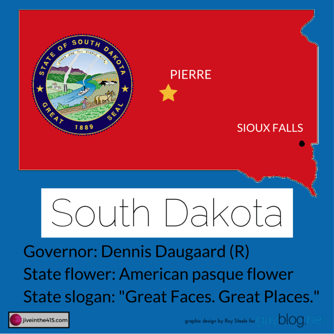 Map of South Dakota outlined in red with Pierre the state capital and Sioux Falls.