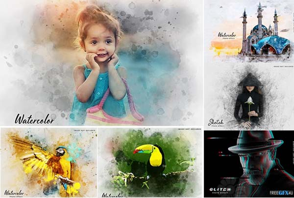 Watercolor Sketch Glitch Effects PSD Templates