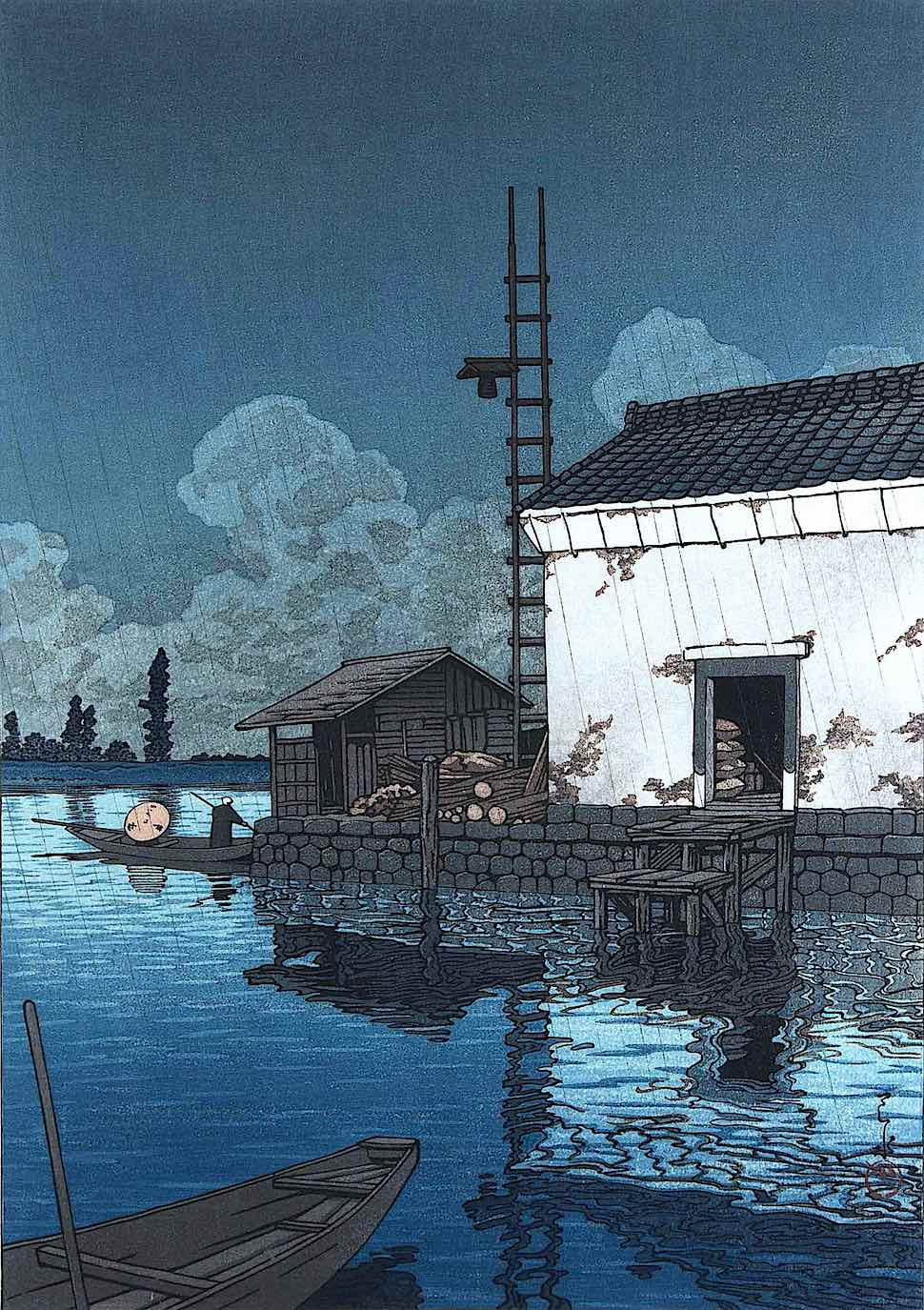 a Kawase Hasui print of a waterfront dock in the rain, in blue