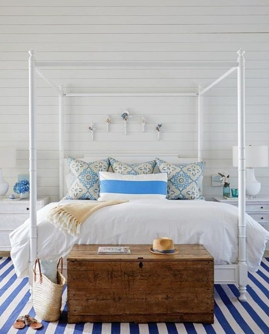 Blue and White Coastal Bedroom with Canopy Poster Bed