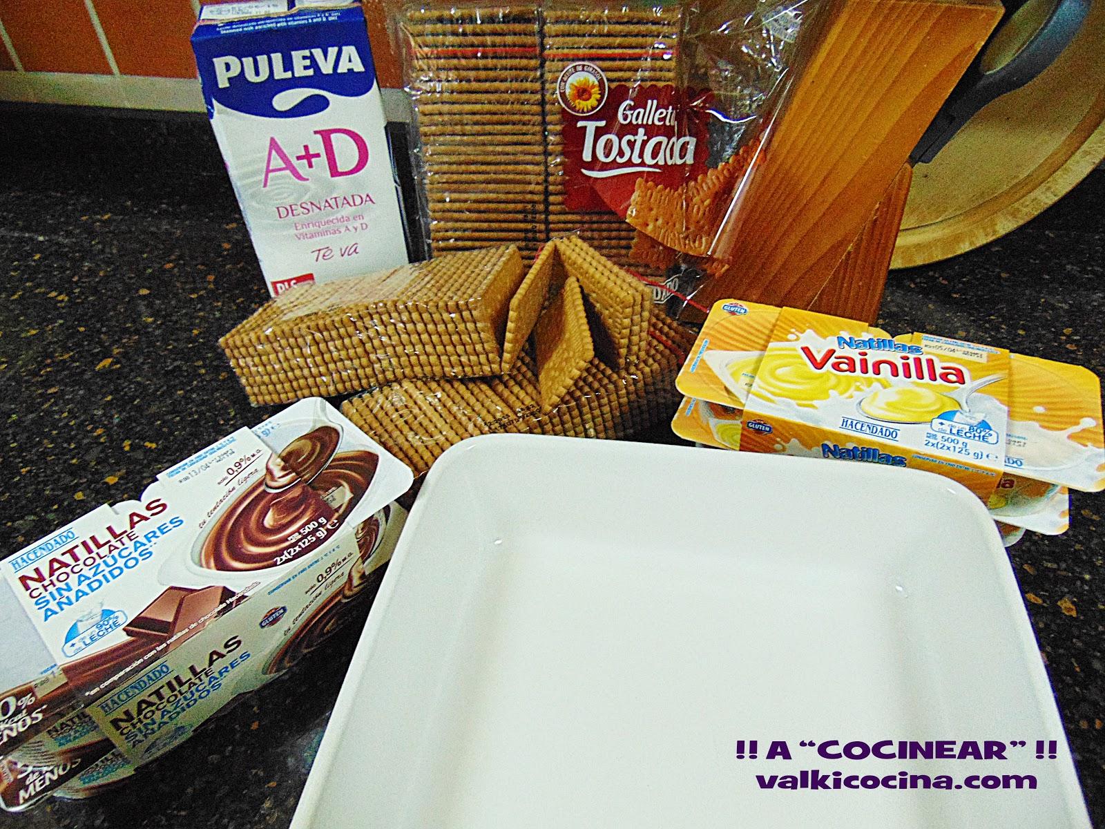 Tarta de galletas vainilla y chocolate