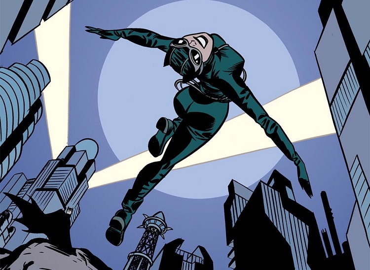 A skyscraper scene with search lights in the background, Catwoman backflips across the foreground, in a graceful swan dive, Batman seen in the distant background