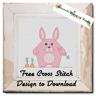 free pink bunny cross stitch pattern